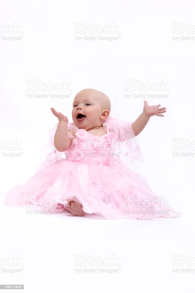 Portrait of Baby Girl in Pink Dress Isolated on White royalty-free stock photo