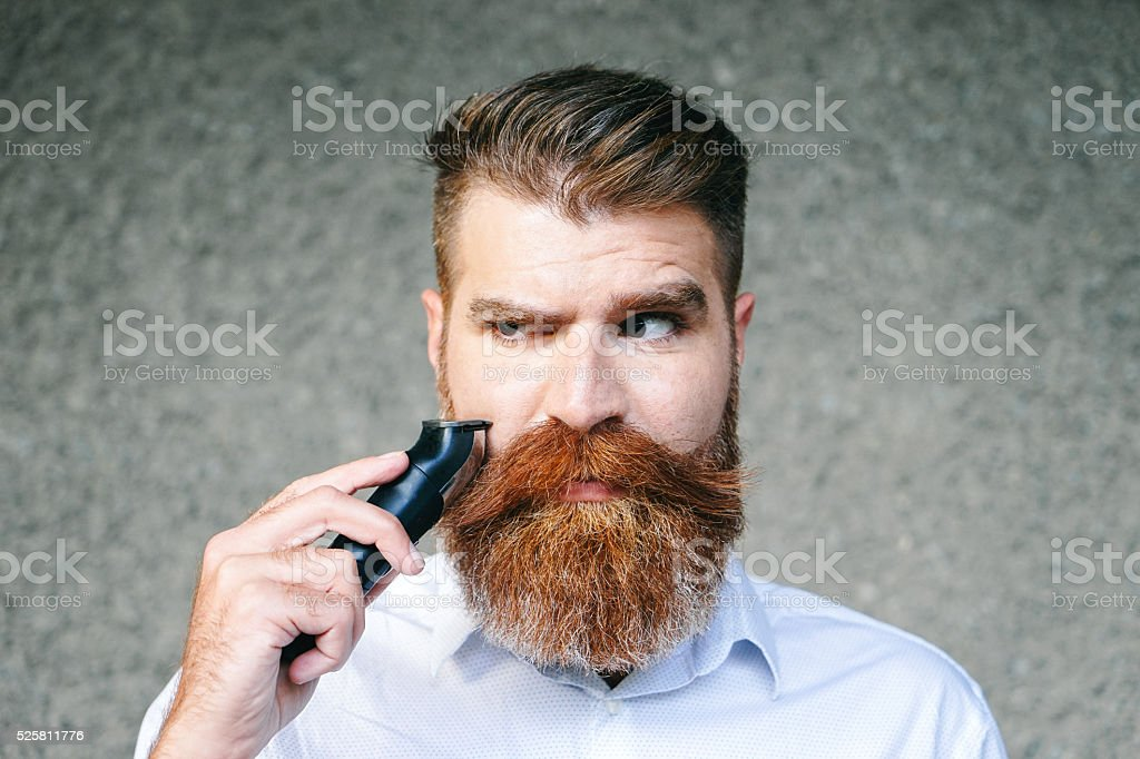 Portrait Of Bearded Man Trimming His Beard stock photo