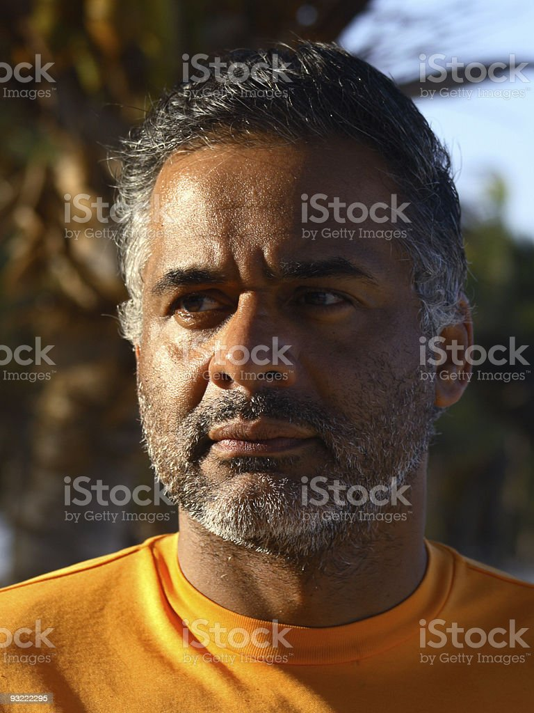 Portrait of  Beared man Thinking royalty-free stock photo