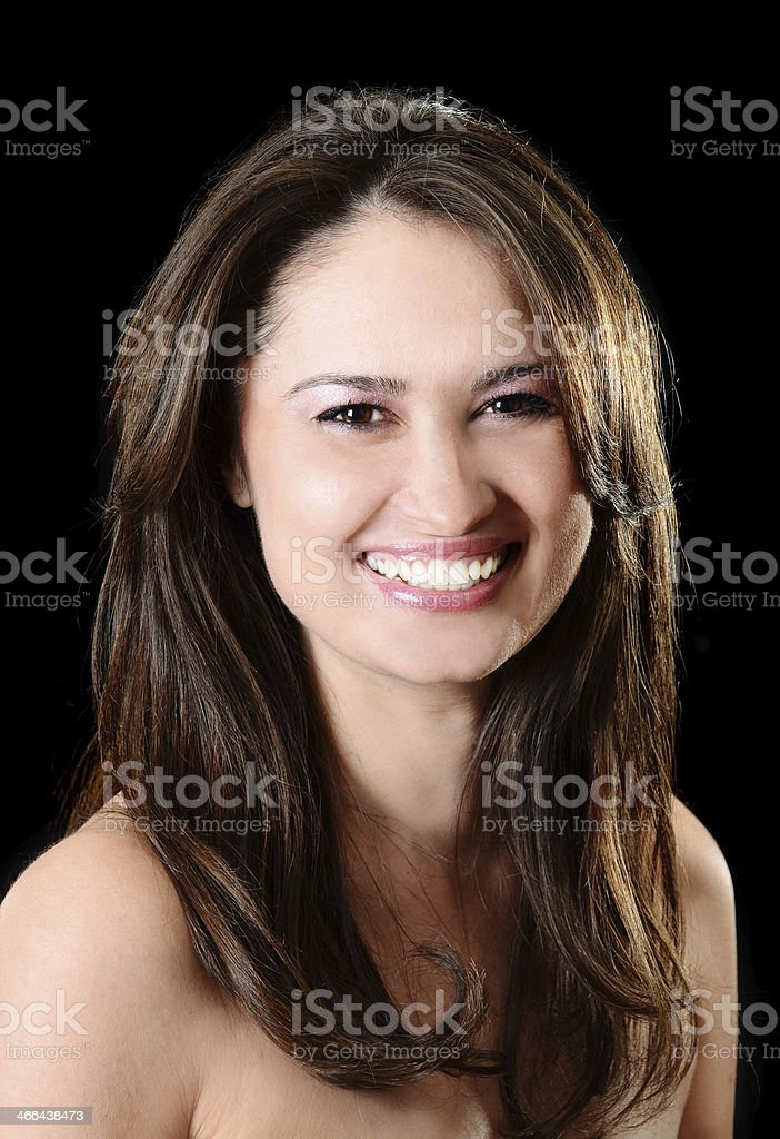 Portrait of beautful young woman with perfect skin and smile stock photo