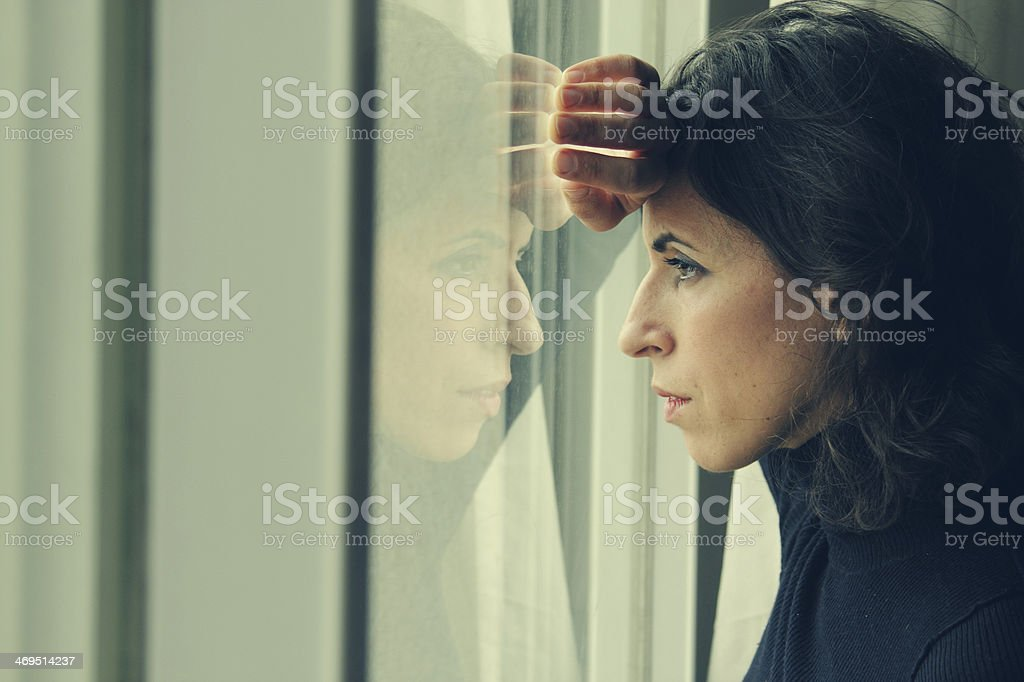 Portrait of beautiful 35 year old woman stock photo