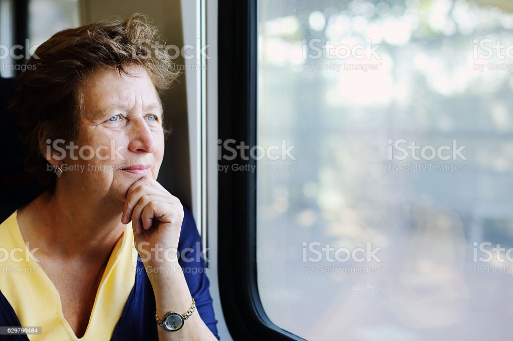 Portrait of beautiful 70 years old woman stock photo