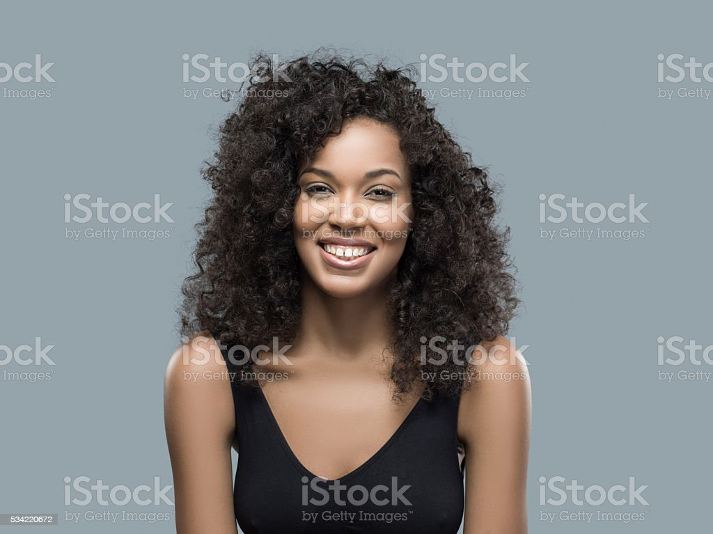 Portrait of beautiful african american female smiling stock photo