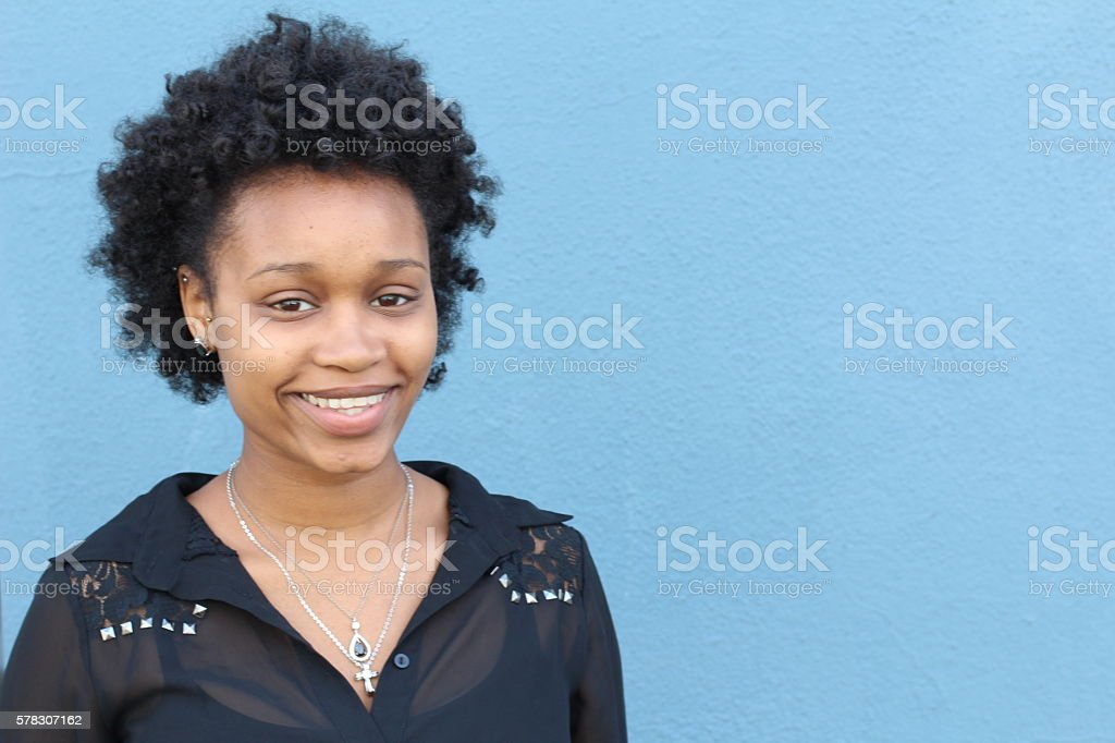 Portrait of beautiful African American young woman stock photo