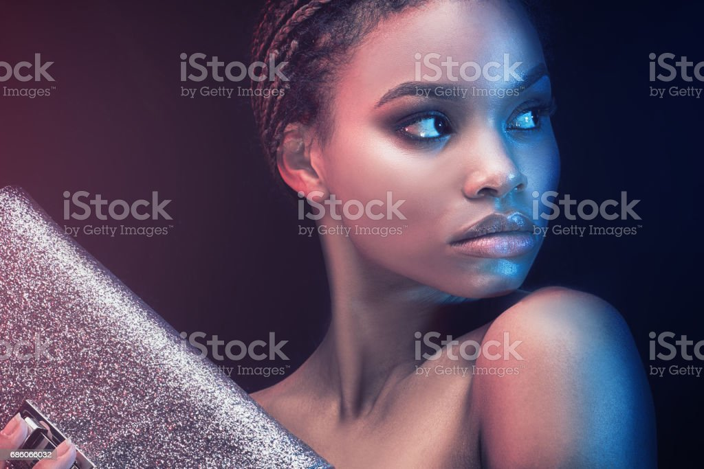 Portrait of beautiful african girl. stock photo