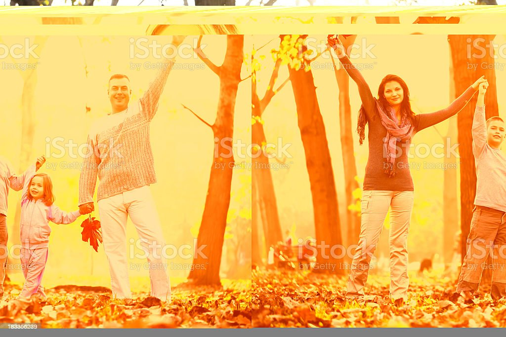 Portrait of beautiful and  cheerful family in the forest. royalty-free stock photo