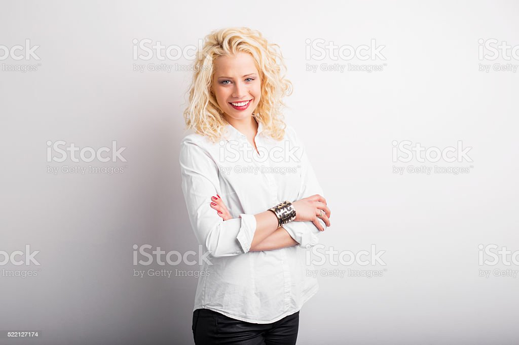 Portrait of beautiful and happy woman stock photo