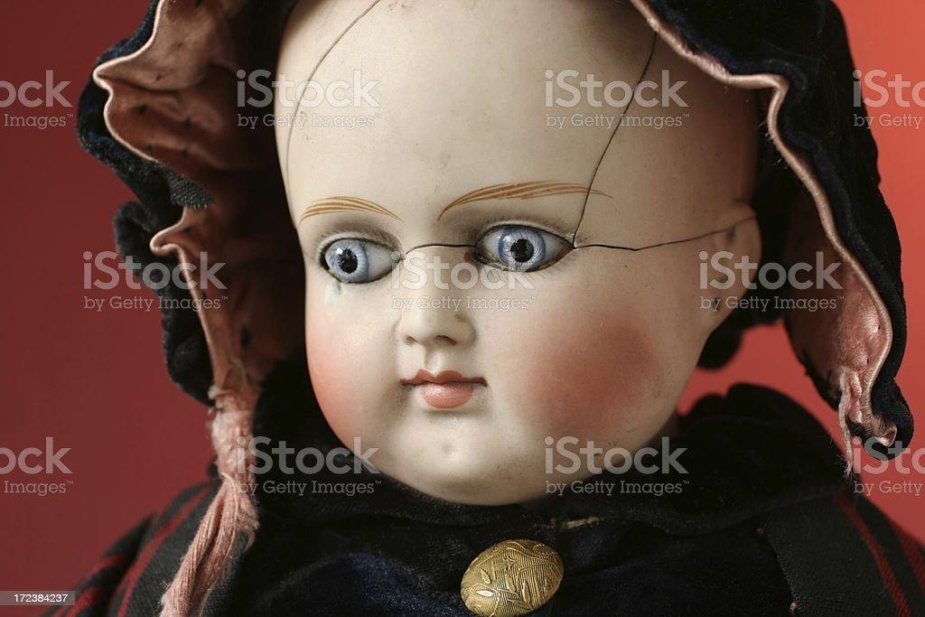 Portrait of beautiful antique German bisque doll. stock photo