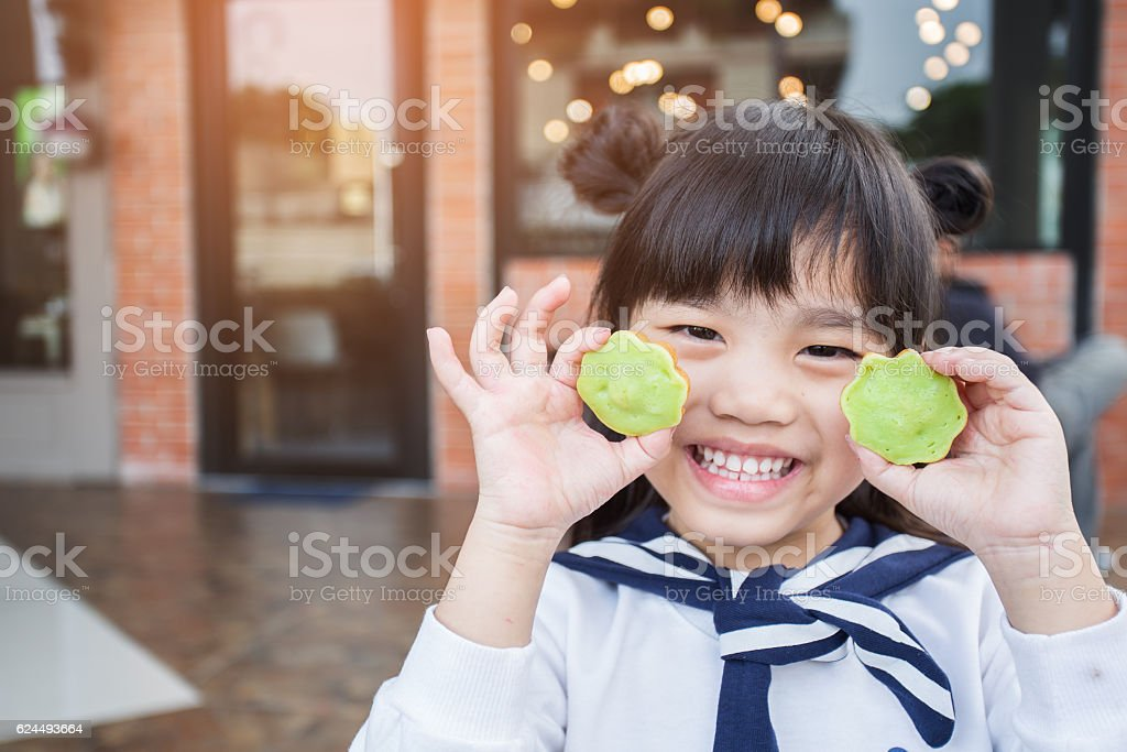 portrait of beautiful asia Children feel happy stock photo