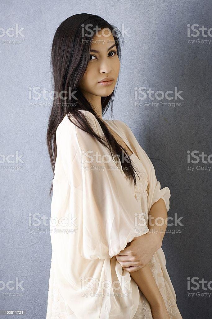 Portrait of beautiful Asian girl stock photo