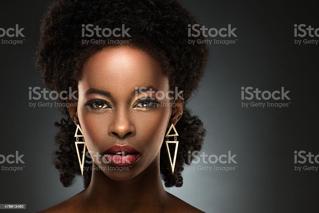 Portrait of beautiful black lady stock photo