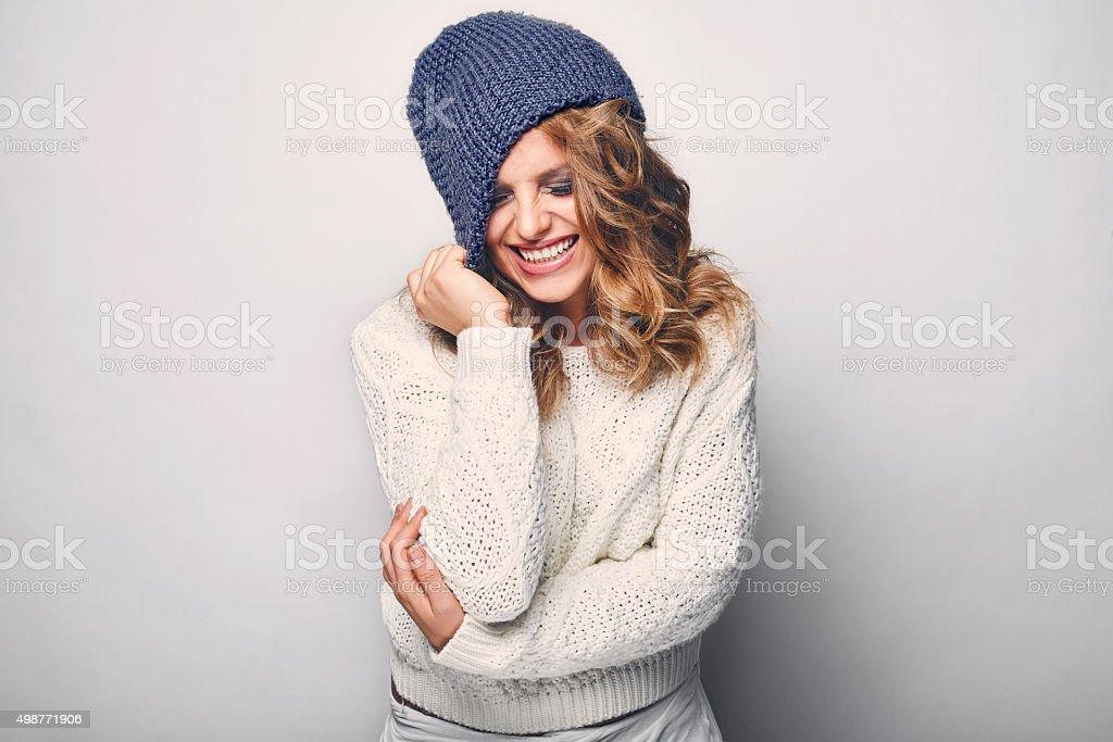 Portrait of beautiful blond woman stock photo