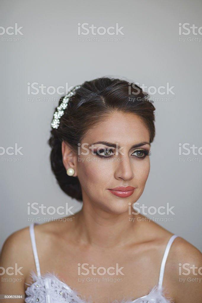 Portrait of beautiful bride. Wedding dress and decoration stock photo