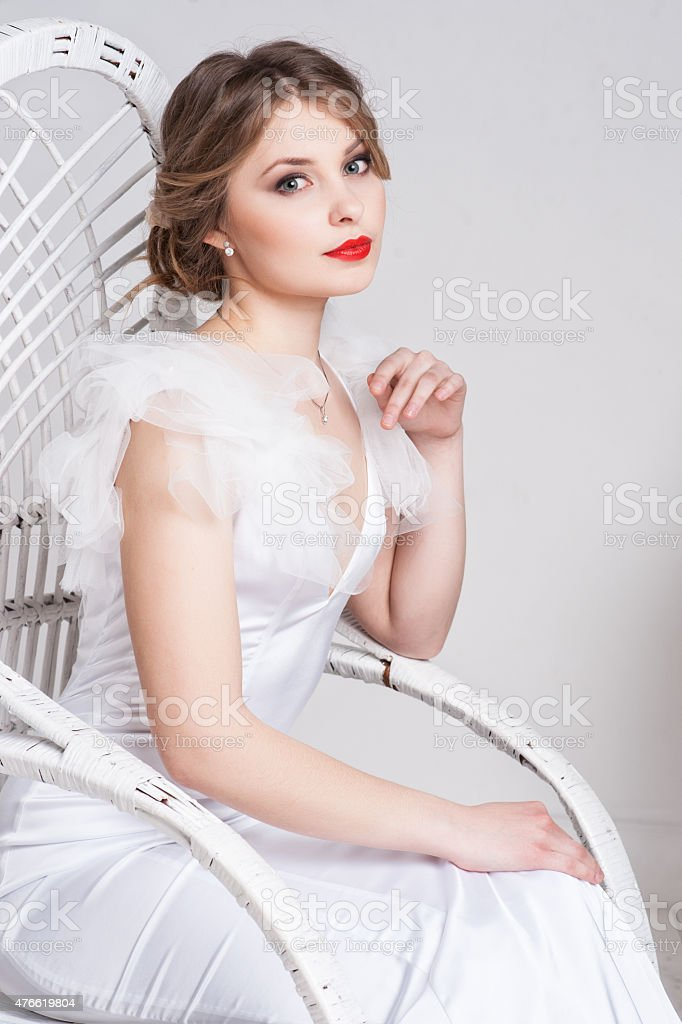 Portrait of beautiful bride. Wedding dress. Wedding decoration stock photo