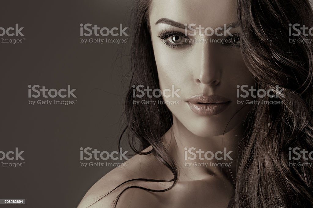 Portrait of beautiful brunette female stock photo