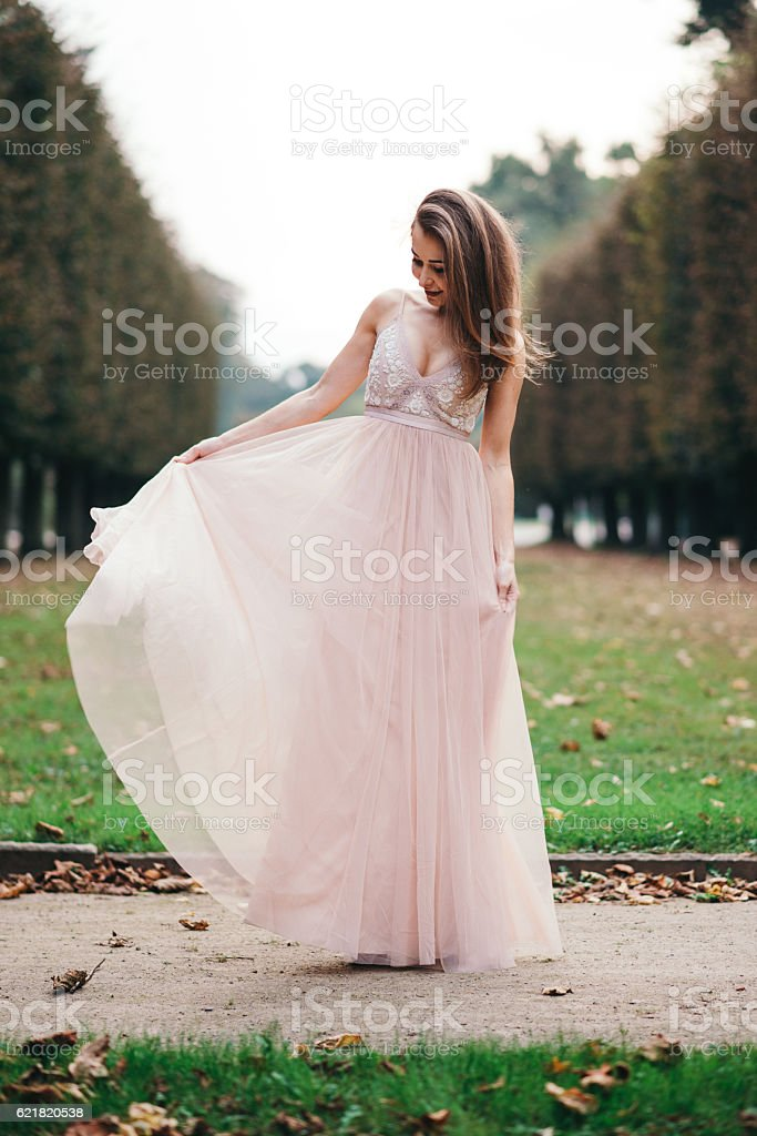 Portrait of beautiful brunette  in long chiffon pink dress stock photo
