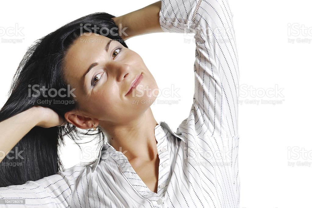 Portrait of beautiful brunette mid adult woman royalty-free stock photo