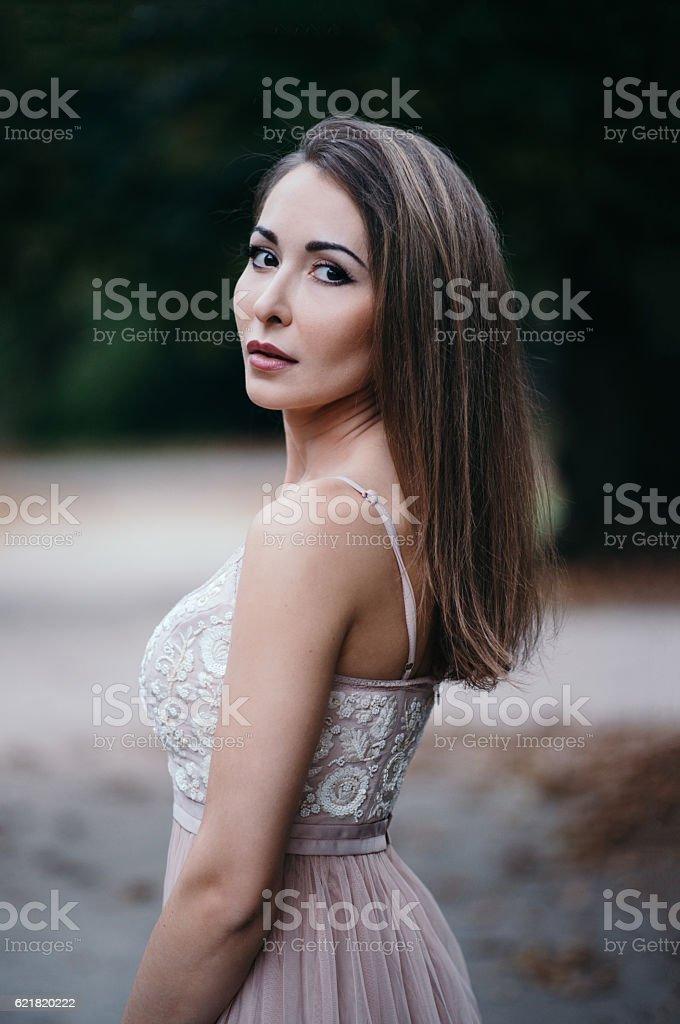 Portrait of beautiful brunette outdoor stock photo