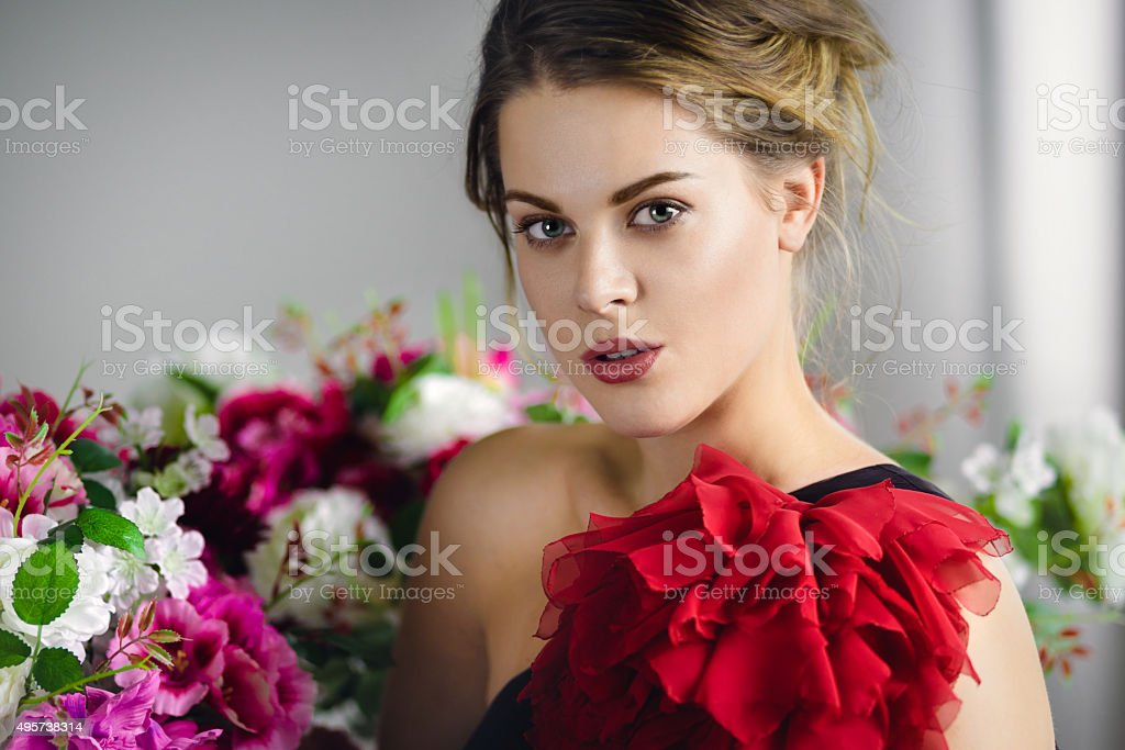 Portrait of beautiful brunette young woman stock photo