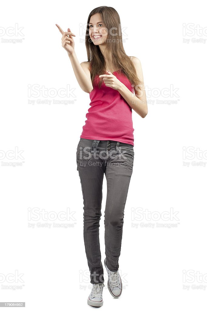 Portrait of beautiful casual girl pointing royalty-free stock photo