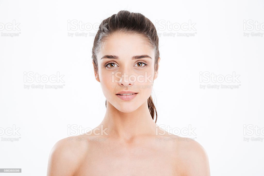 Portrait of beautiful charming young woman with perfect skin stock photo