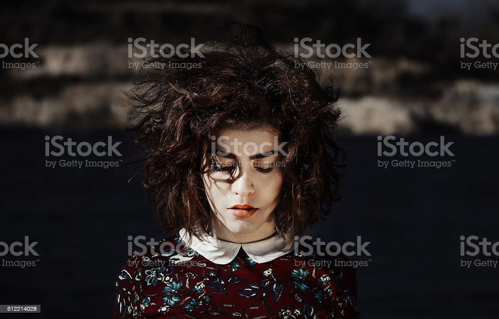 Portrait of beautiful colombian girl stock photo