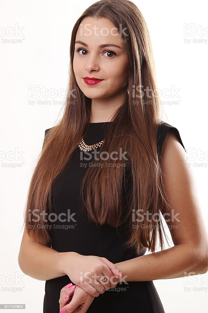 Portrait of beautiful face of an  woman with long   hair. royalty-free stock photo