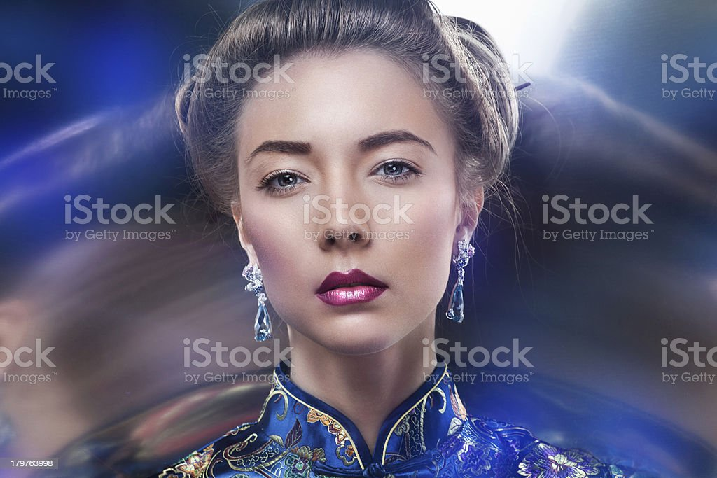 portrait of  beautiful  fashion model posing in exclusive jewelr royalty-free stock photo
