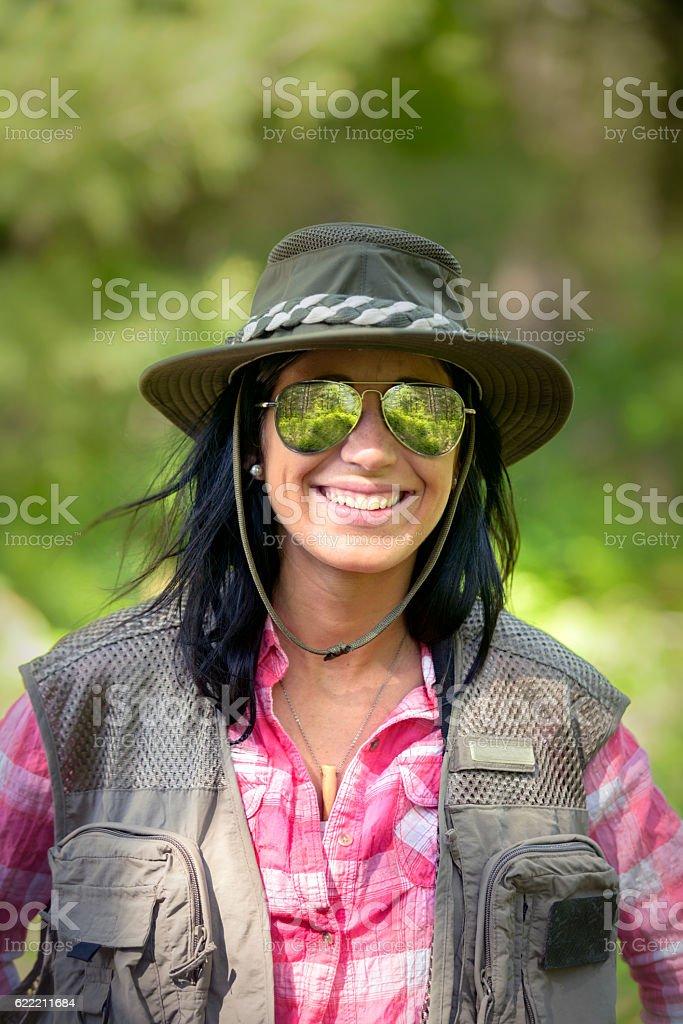Portrait of Beautiful Female Angler stock photo