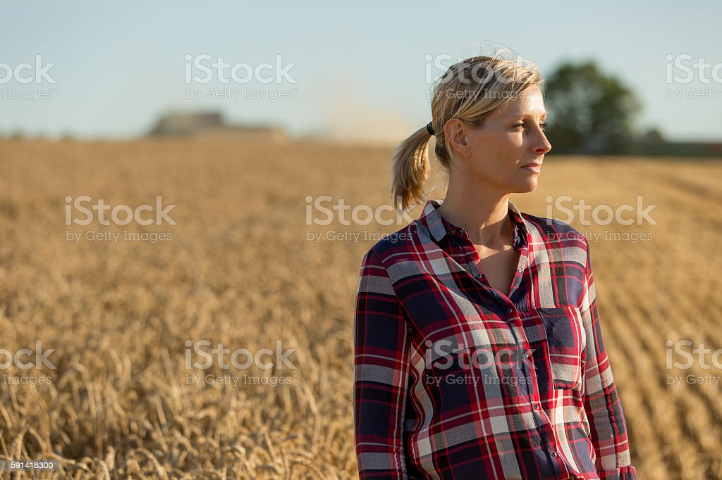 Portrait of beautiful female farmer stock photo