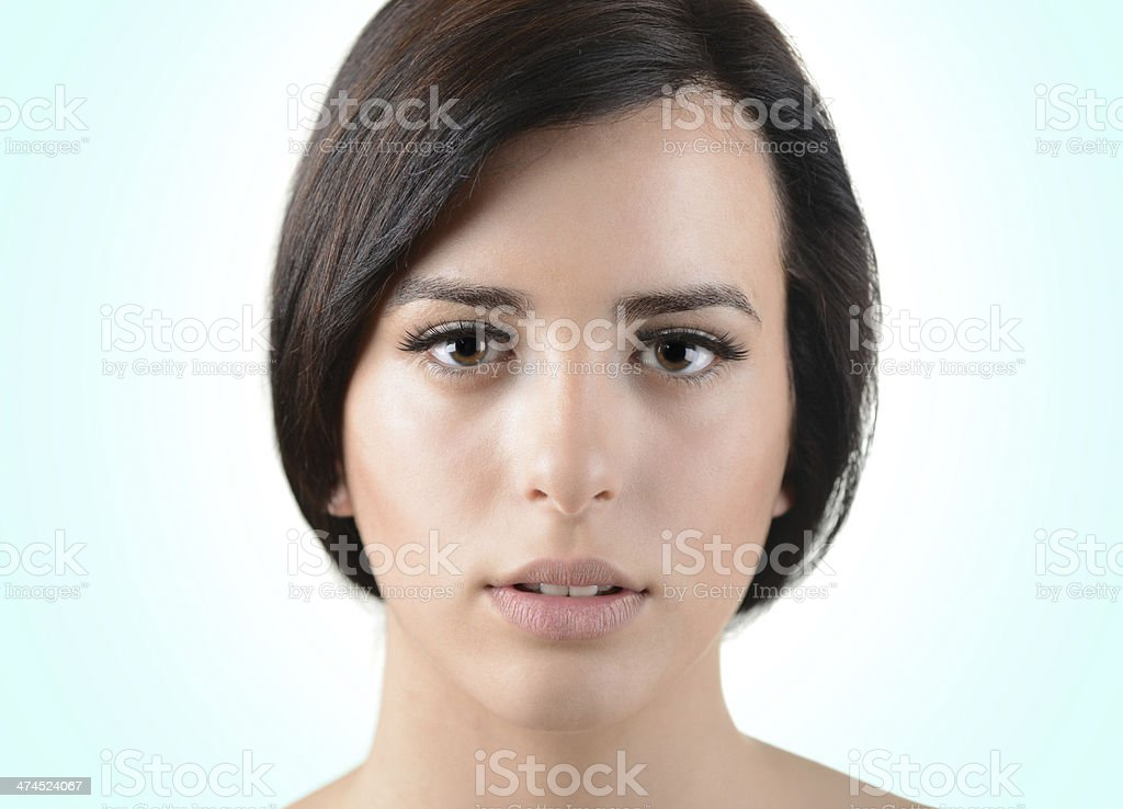 Portrait of beautiful female fashion model with perfect smooth skin royalty-free stock photo