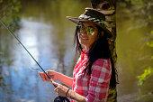 Portrait of Beautiful Fishing Woman