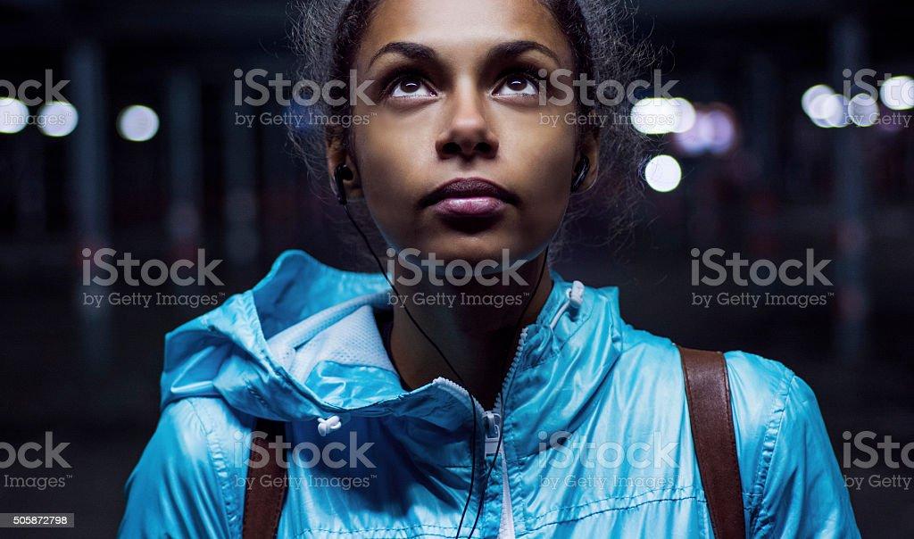 Portrait of beautiful girl at night stock photo