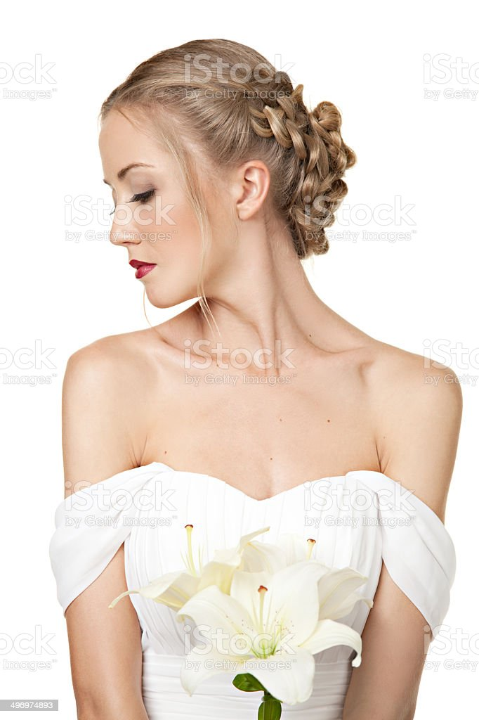 Portrait of beautiful girl  in  white dress  with cutaway shoul stock photo