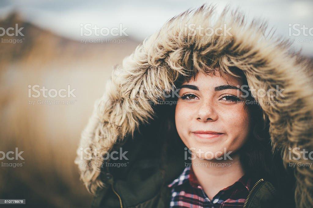 Portrait of beautiful girl outdoors stock photo