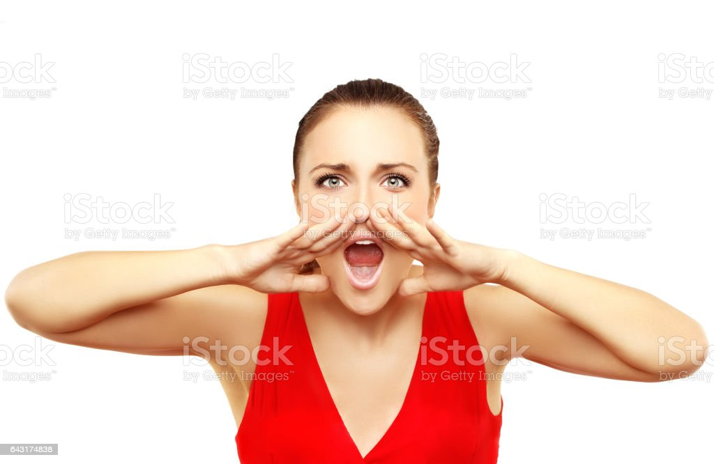 Portrait of beautiful girl screaming at the camera stock photo