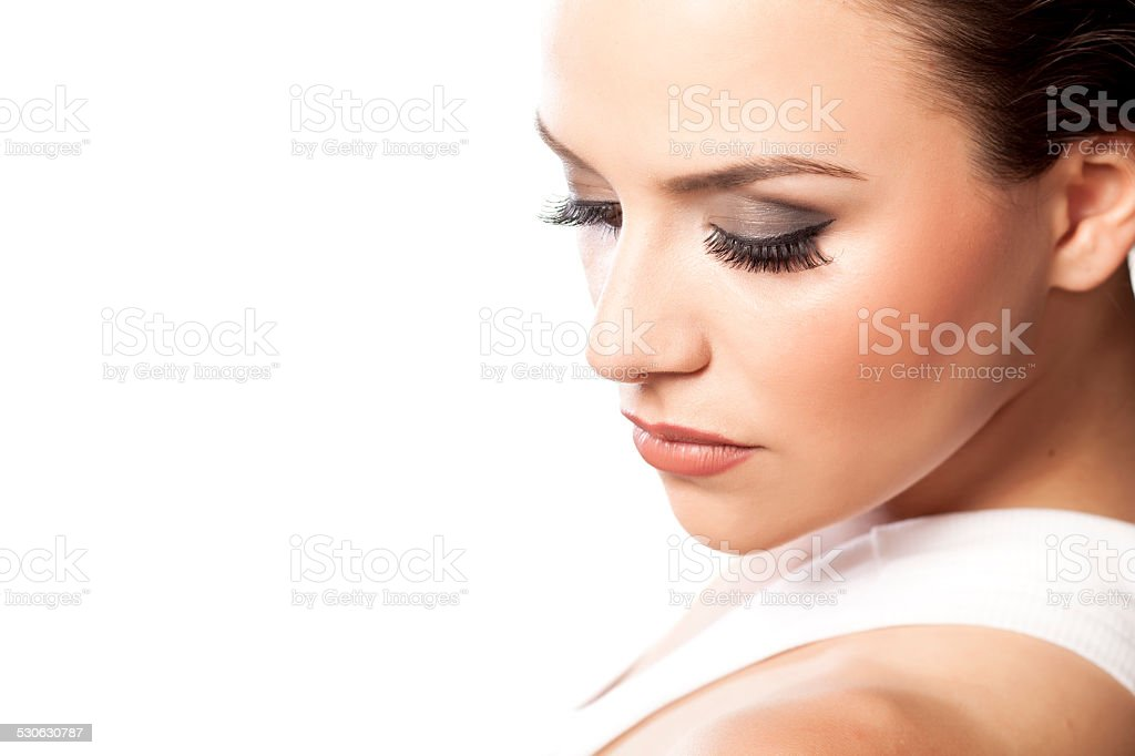 Portrait of beautiful girl with fake eyelashes stock photo