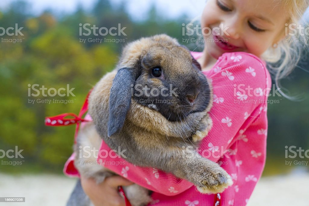 Portrait of beautiful girl with rabbit stock photo