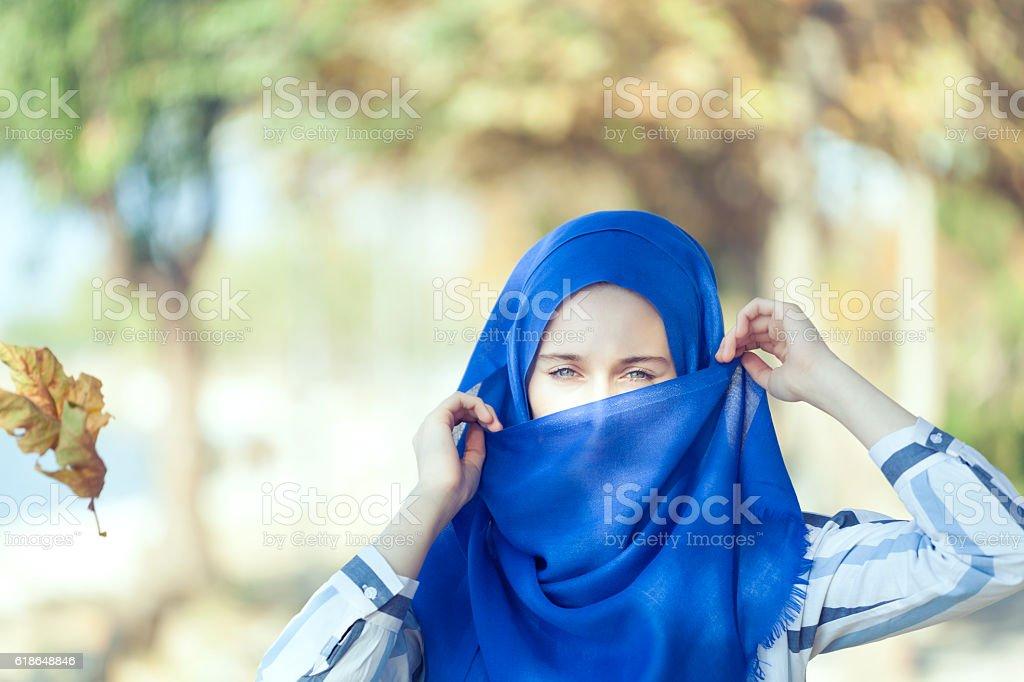 Portrait of beautiful green- eyed woman stock photo