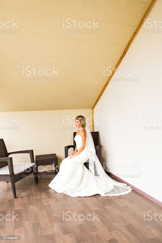Portrait Of Beautiful Happy Bride Indoors stock photo