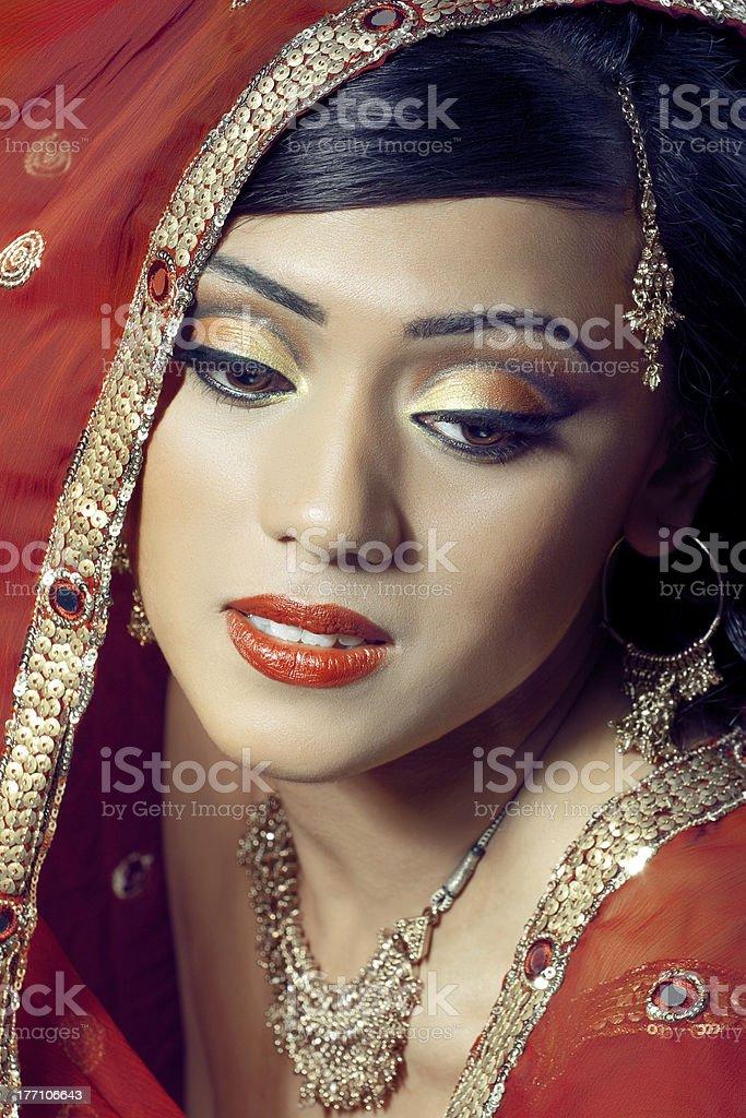 Portrait of beautiful happy indian bride stock photo