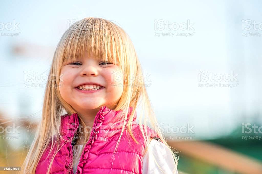 Portrait of beautiful little girl stock photo