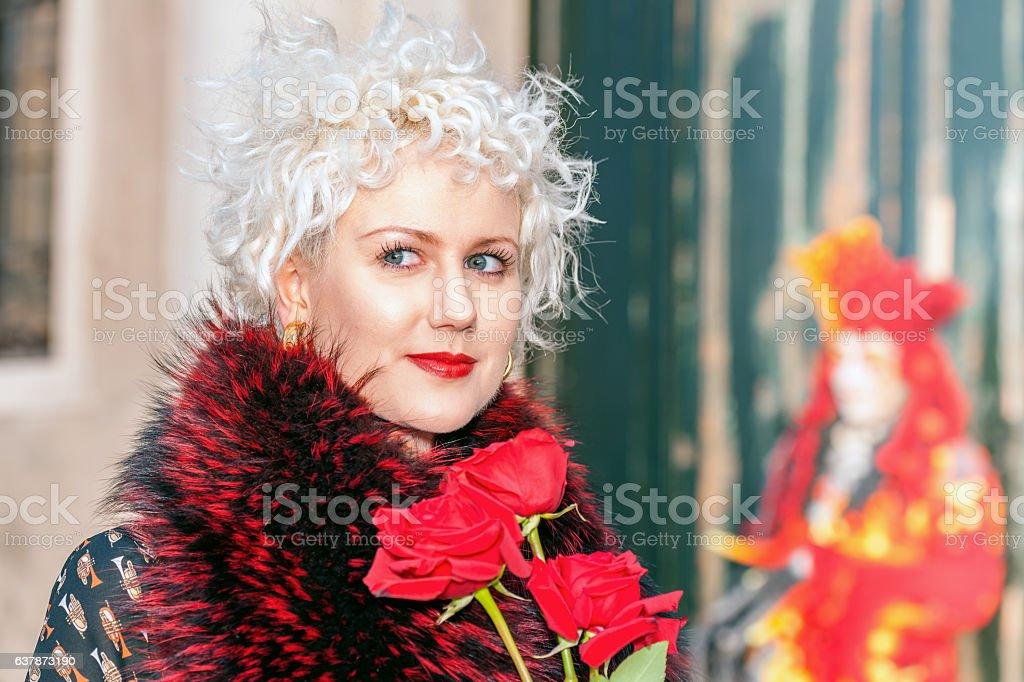 Portrait of Beautiful mask Lady at San Giorgio, Venice, Italy stock photo