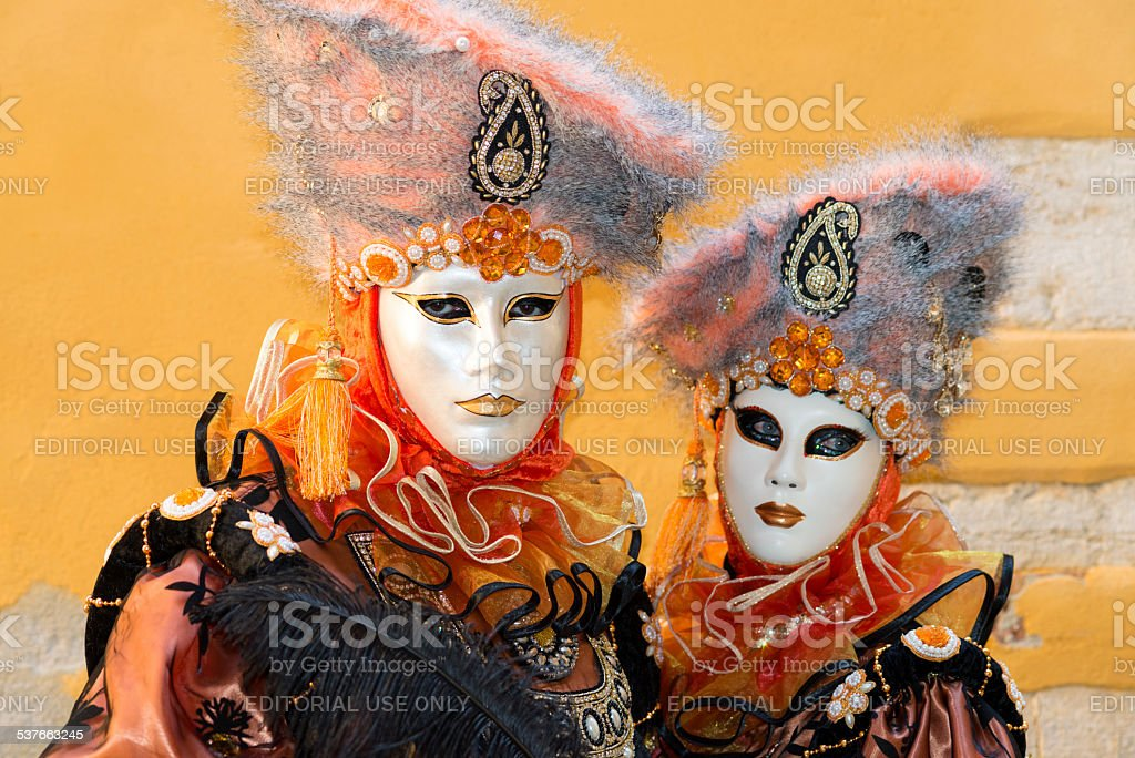 Portrait of Beautiful Masks, Venice Carnival at Arsenale, Italy, Europe stock photo