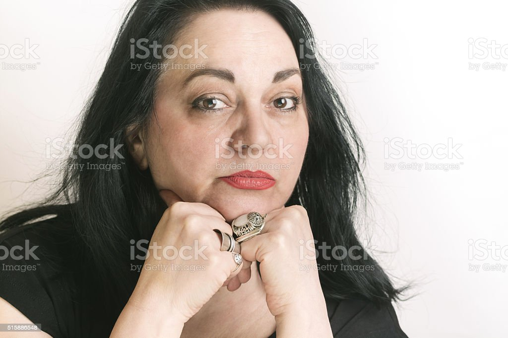 Portrait of Beautiful Mature Women stock photo