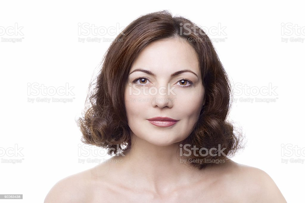 Portrait of beautiful middle-aged woman with brown hair royalty-free stock photo