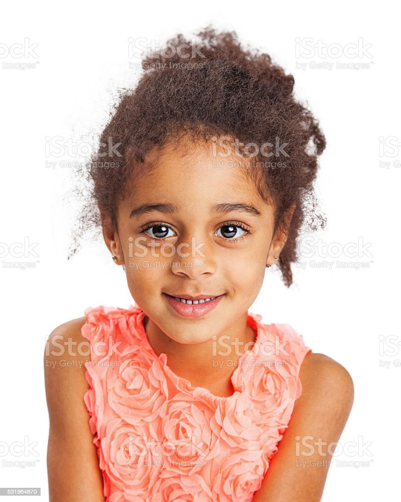 Portrait of Beautiful Mixed-Race Young Girl stock photo
