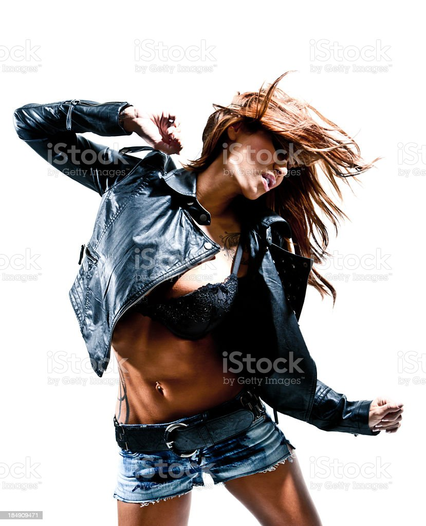 Portrait of beautiful model in denim with hair in movement stock photo