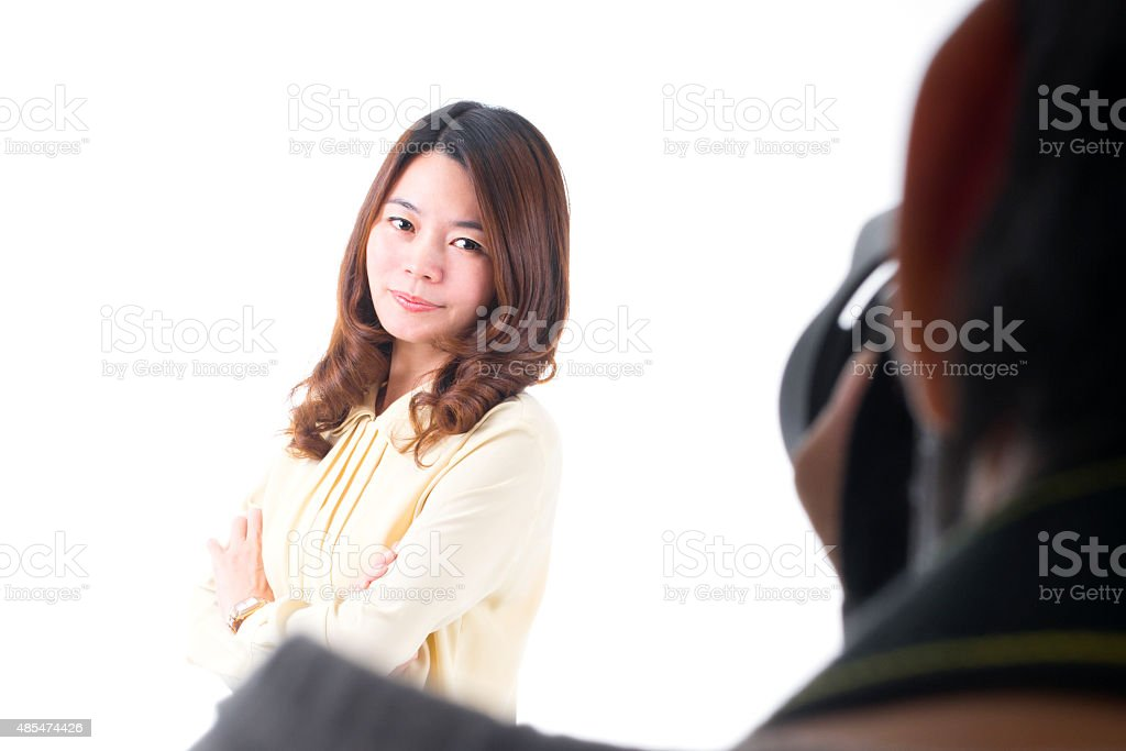 Portrait of Beautiful Model Posing In Front of Photographer royalty-free stock photo
