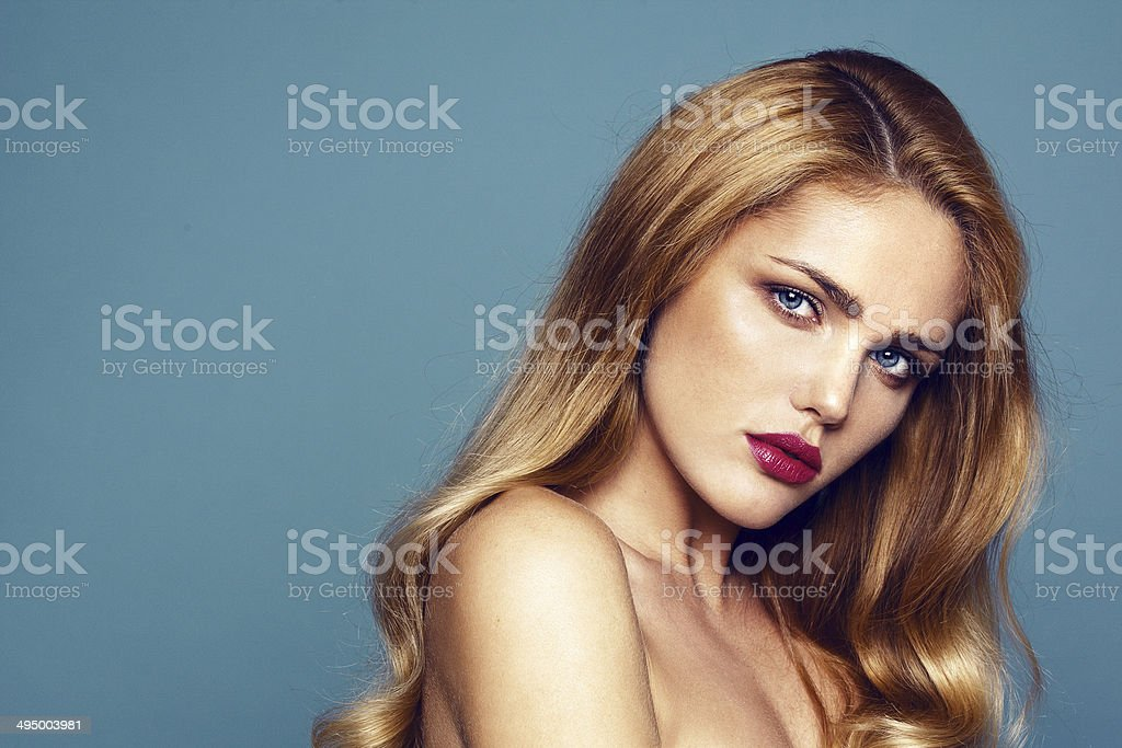 portrait of beautiful model with bright make-up stock photo